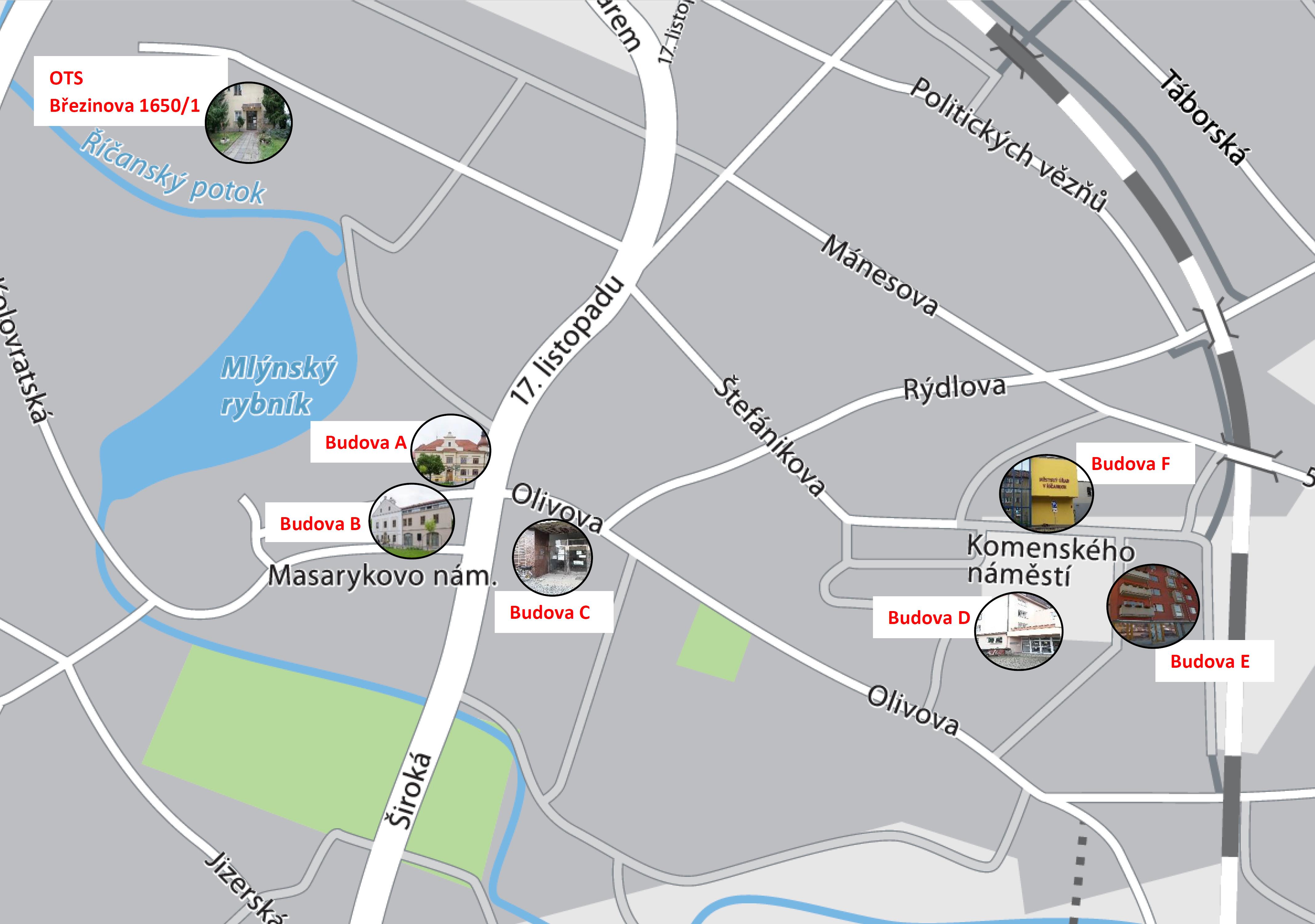 ac418420c12 Umístění budov městského úřadu (pro zvětšení klikněte na obrázek)